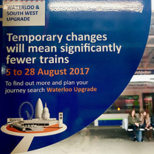 Window sticker warning of rail disruption